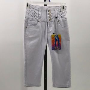 tush push capri jeans white bling junior sz 1 NWT